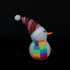 White flannel snowman with rainbow hat