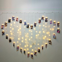 USB 50LED Warm White Outdoor Christmas Photo Clip Curtain String Light Holder