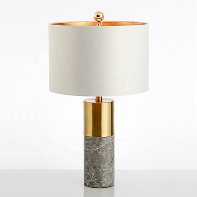 Factory Supply Luxury Style PVC Fabric Lampshade 26in Height Blackwhitegrey Natural Marble Hardware Led Table Lamp