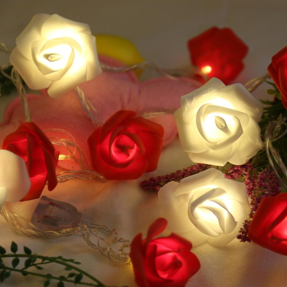 Wedding Decoration Battery Powered 1m 10L Red Pink White Rose Led Rose String Light