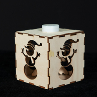 Wood box with snowman pattern