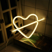 DIY Creative Combination Stylish Portable Bright heart I LOVE U Letters Shatter-proof PVC Led Neon Sign Night Lamp